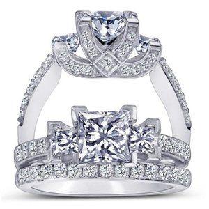 2 carat Princess & round brilliant diamonds weddin